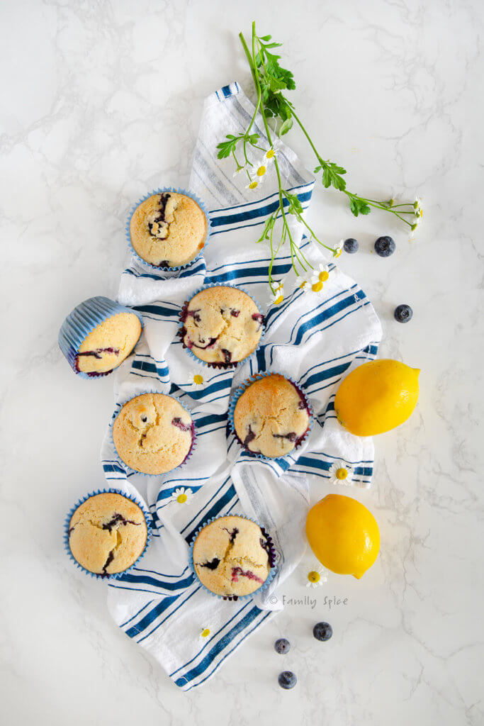 Overhead view of several lemon blueberry muffins on a blue striped dish towel with two lemons