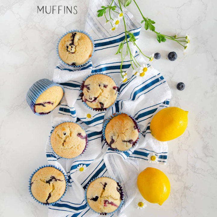 Olive Oil Lemon Blueberry Muffins