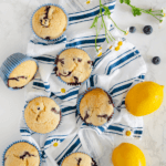New pin for olive oil lemon blueberry muffins by FamilySpice.com