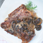 Grilled T-Bone with Creamy Mushroom Sauce by FamilySpice.com