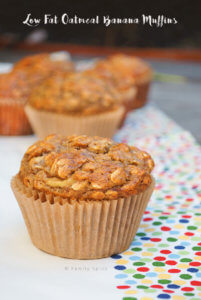 Low Fat Oatmeal Banana Muffins by FamilySpice.com