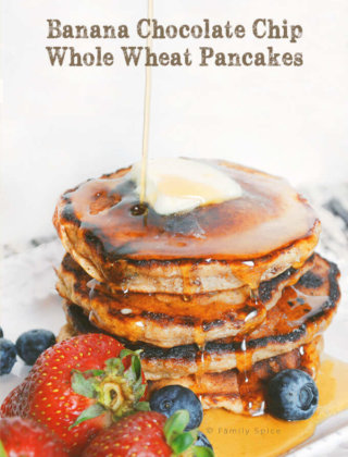 Back-To-School with Banana Chocolate Chip Whole Wheat Pancakes
