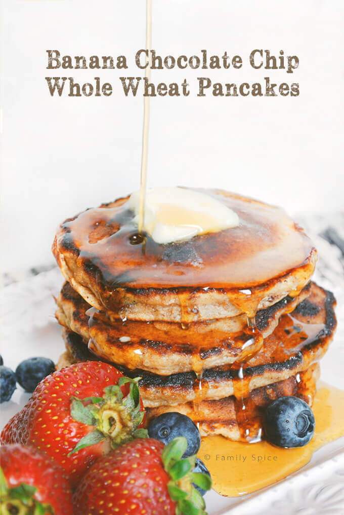 Banana Chocolate Chip Whole Wheat Pancakes by FamilySpice.com