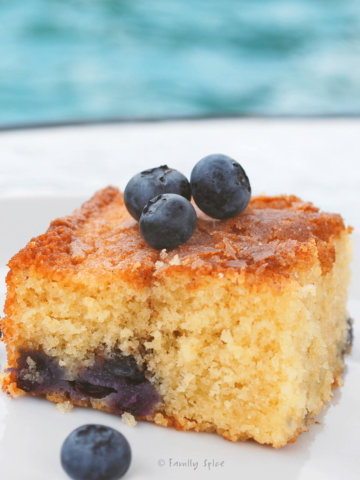 A slice of blueberry boy bait cake