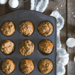 pinterest image for banana oatmeal muffins by FamilySpice.com