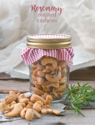 These Rosemary Roasted Cashews are addicting to eat and can be jarred and made into hostess gifts. -- FamilySpice.com