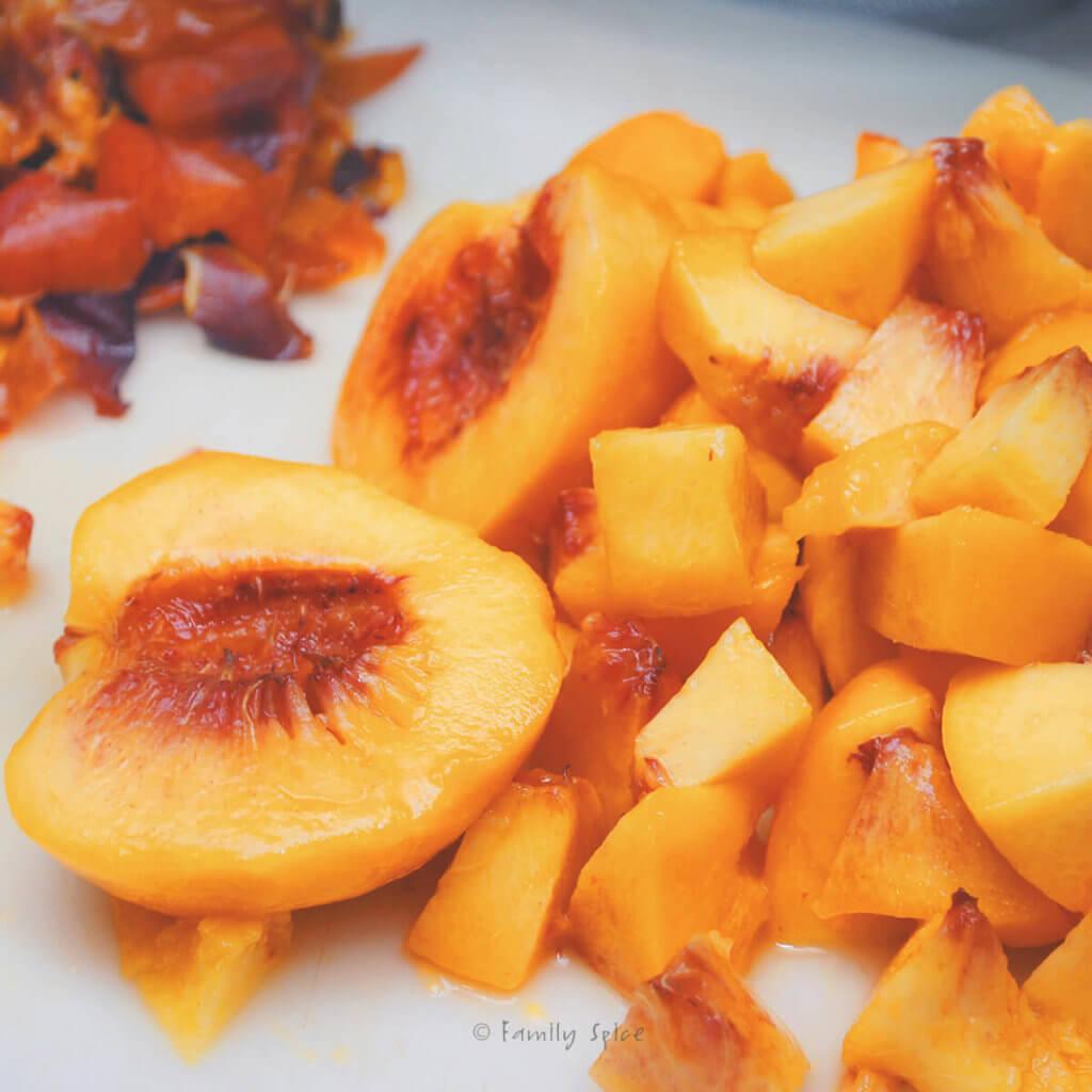 Peeled and chopped fresh peaches