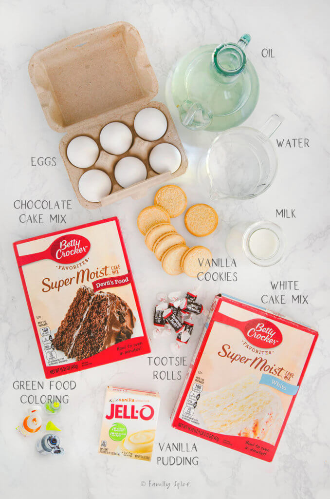 Ingredients needed and labeled to make kitty litter cake