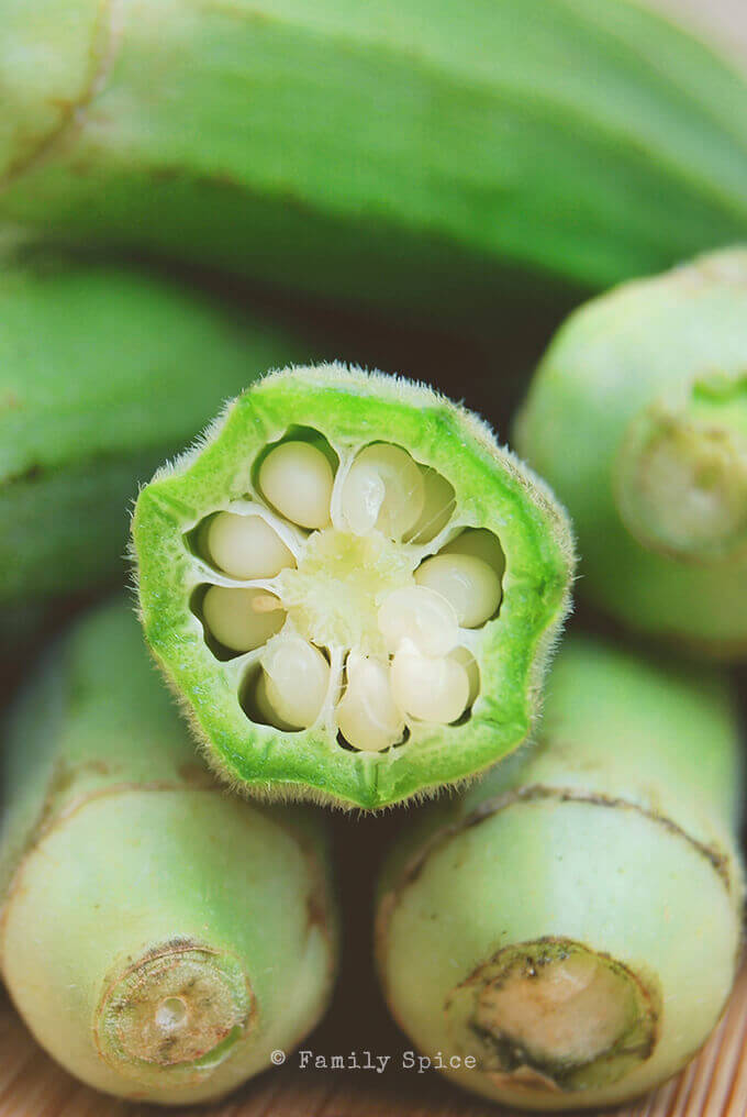 Close up of okra cut open by FamilySpice.com