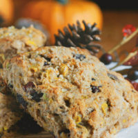 Whole Wheat Pumpkin Scones with Cranberries and Pistachios