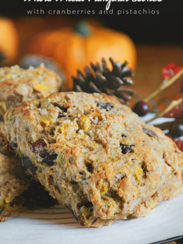 Whole Wheat Pumpkin Scones with Cranberries and Pistachios by FamilySpice.com