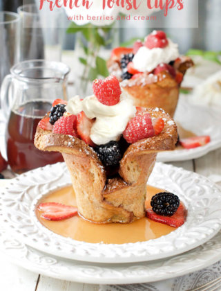 French Toast Cups with berries and cream by FamilySpice.com