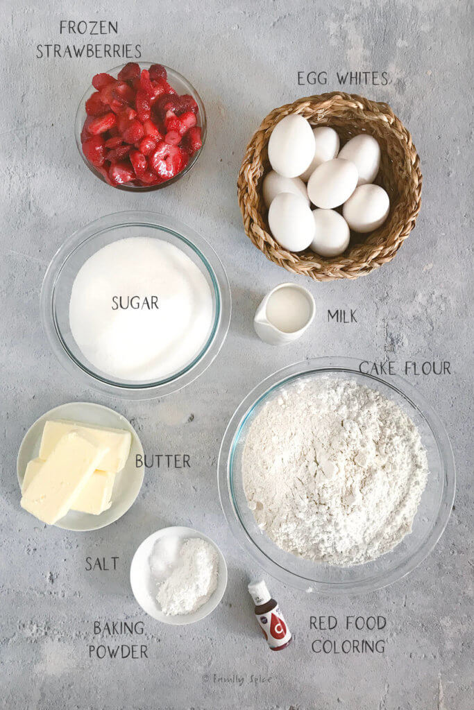 Labeled ingredients to make strawberry cake