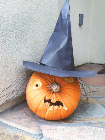 A pumpkin carved as a witch face with the stem as a nose