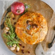 pinterest image for pomegranate brie en croute