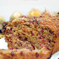 Whole Wheat Pomegranate Banana Bread with Pistachios