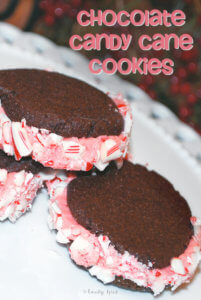 Chocolate Candy Cane Sandwich Cookies by FamilySpice.com