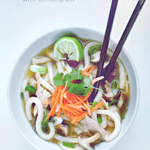 Chicken Udon Noodle Soup with Lemongrass
