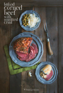 Overhead shot of baked corned beef with mustard crust by FamilySpice.com