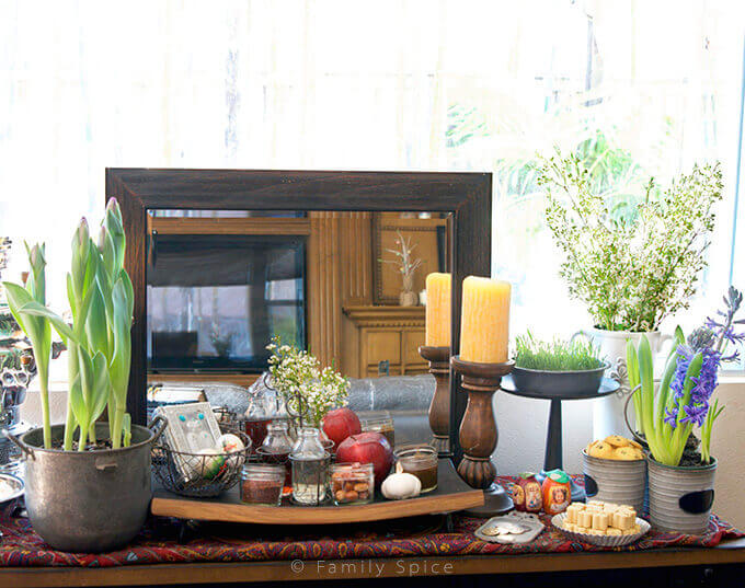 Sofreh Haft Seen for Nowruz (Persian New Year) by FamilySpice.com