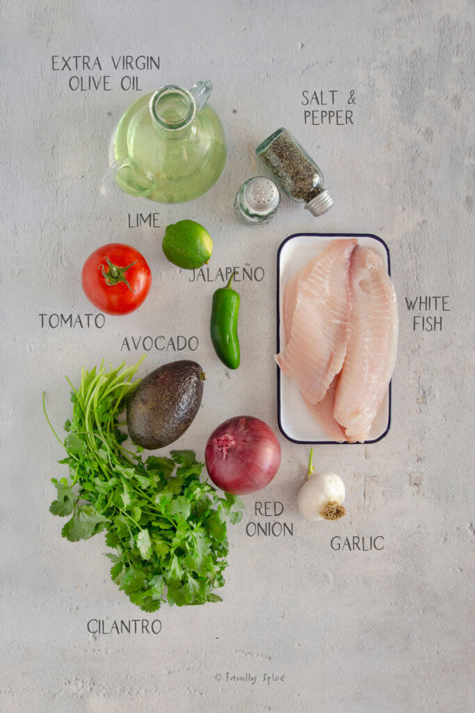 Ingredients needed and labeled to make Mexican ceviche