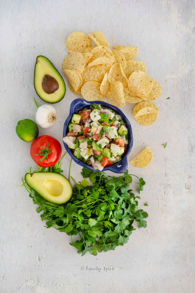 Top view bowl of a blue terracotta bowl with Mexican ceviche with tortilla chips and ingredients around it