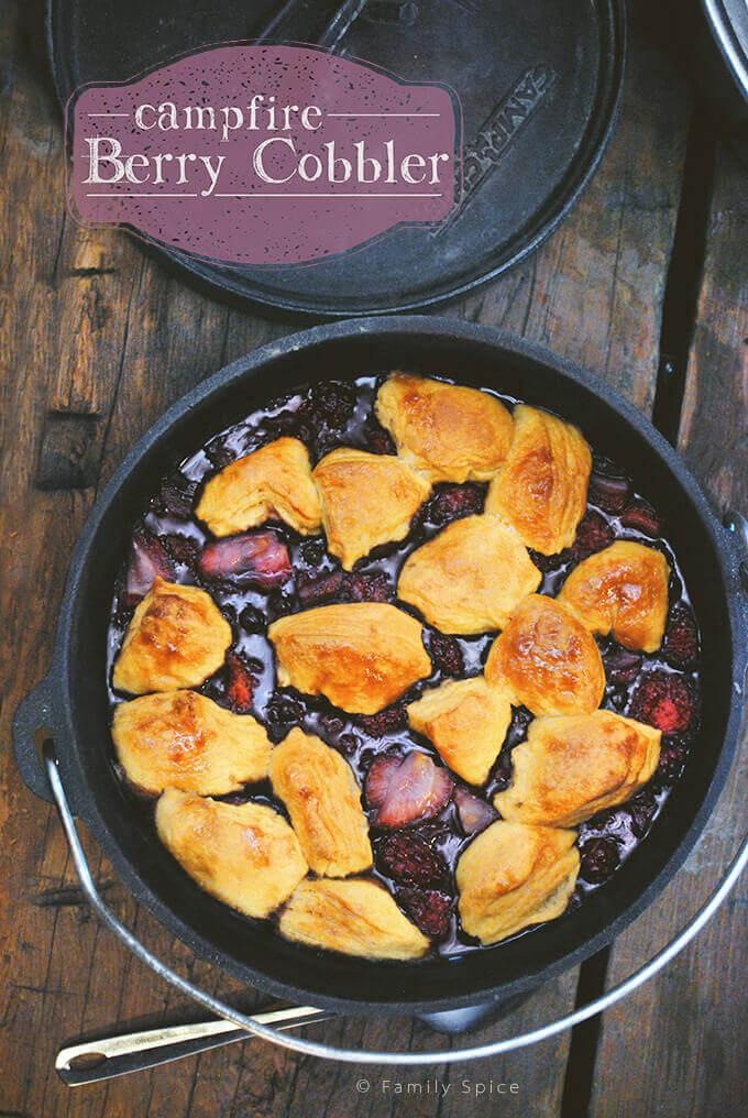 Campfire Dutch Oven Berry Cobbler