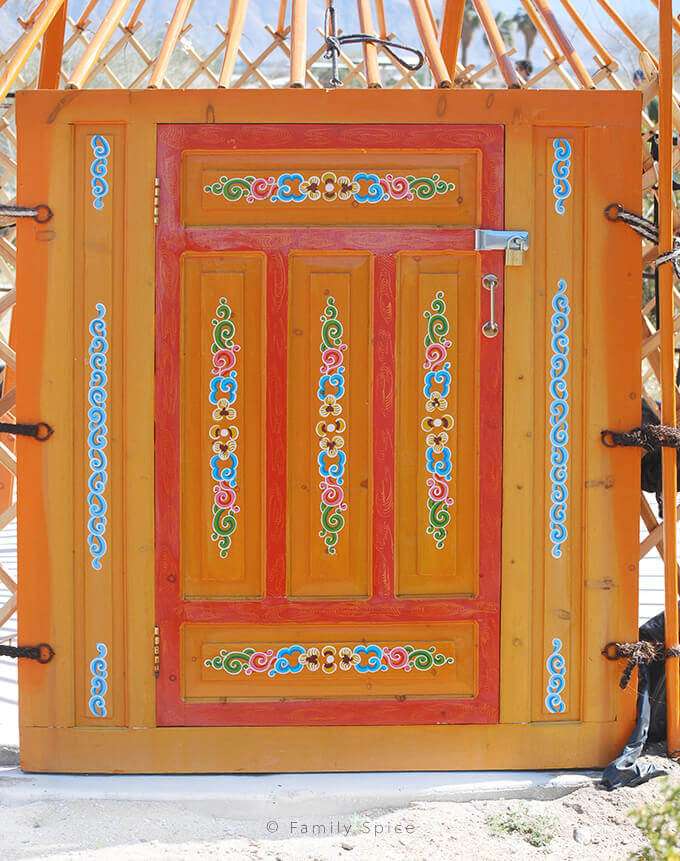 Closeup of yurt door in Anza Borrego California by FamilySpice.com