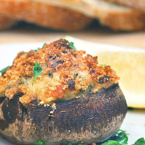 Cheesy Crab Stuffed Mushrooms by FamilySpice.com