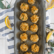 pinterest image for crab stuffed mushrooms