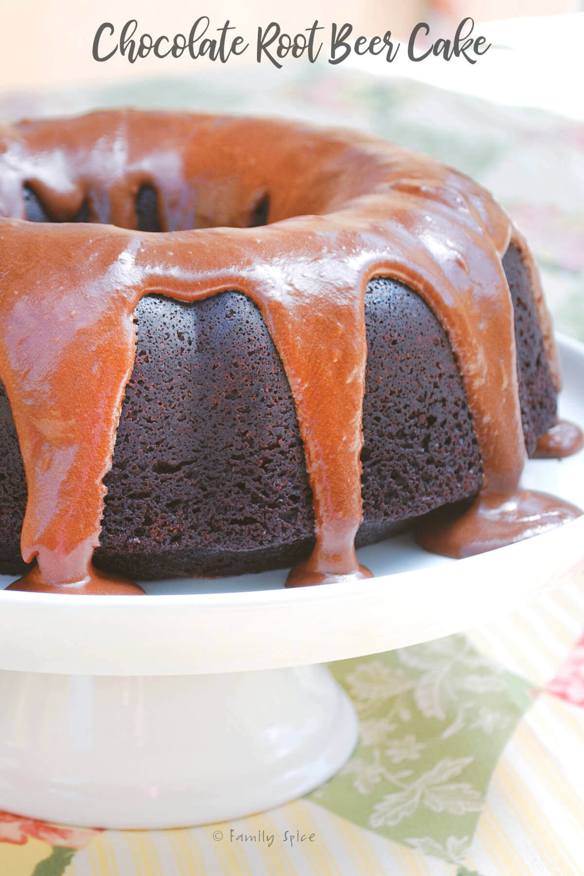 Closeup of a chocolate root beer bundt cake by FamilySpice.com
