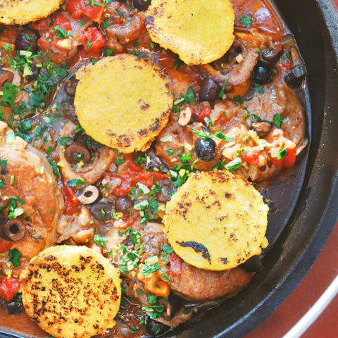 Campfire Dutch Oven Osso Buco with Beer, Olives, and Gremolata by FamilySpice.com