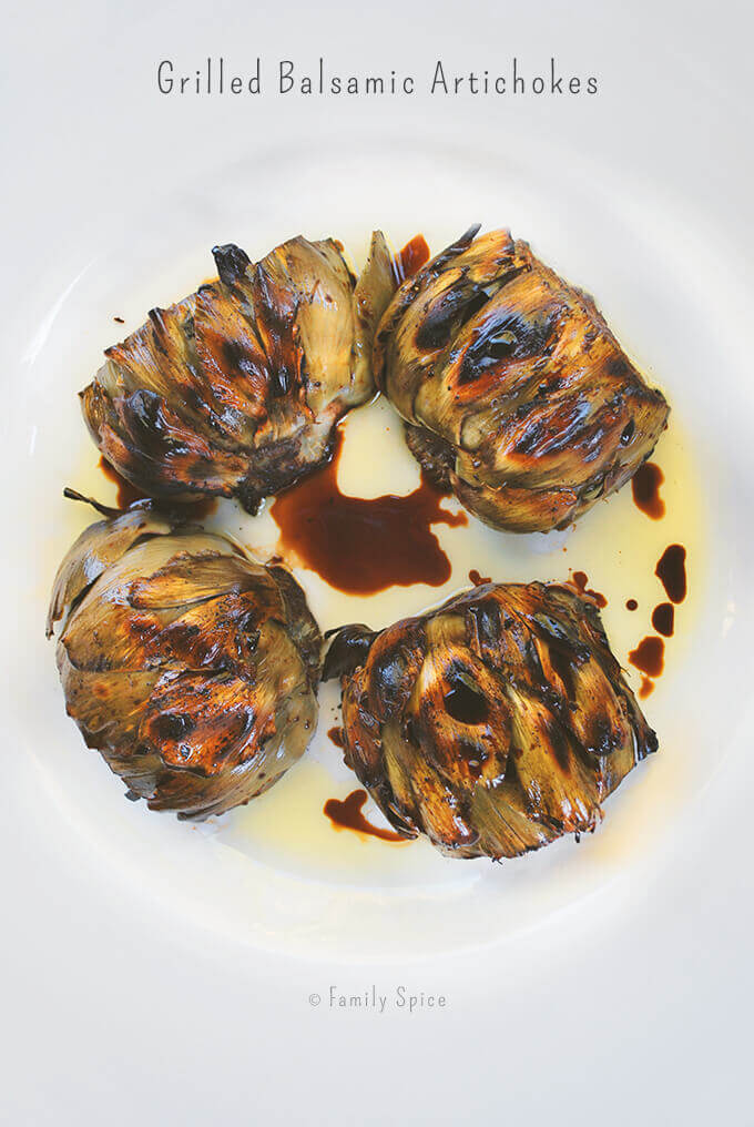 Grilled Balsamic Artichokes by FamilySpice.com