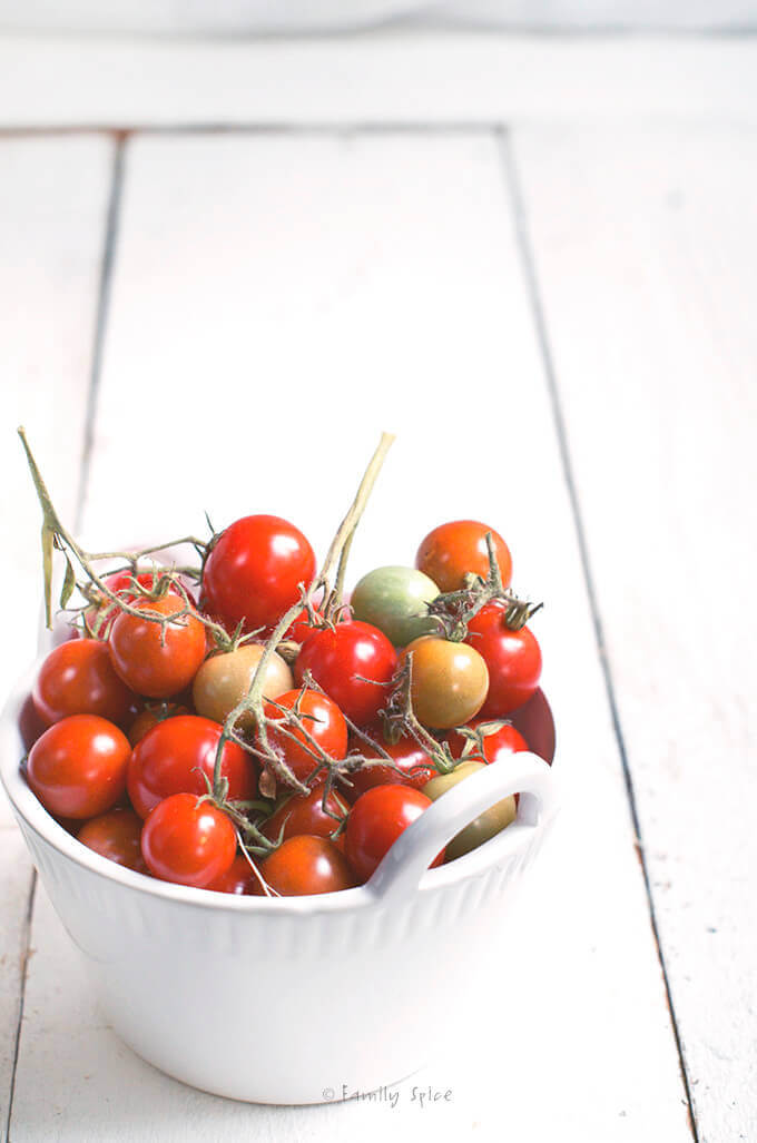 Cherry Tomatoes in a White Bowl by FamilySpice.com