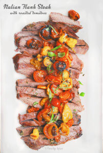 Grilled Italian Flank Steak with Roasted Tomatoes by FamilySpice.com