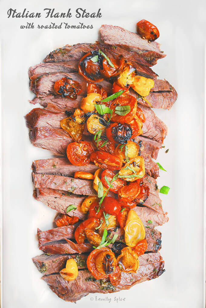 Grilled Italian Flank Steak with Roasted Tomatoes