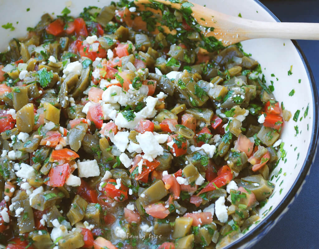 Cactus salad with tomatoes and feta