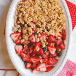 Pinterest image for strawberry rhubarb crisp by FamilySpice.com