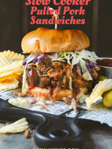 A stuffed pulled pork sandwich topped with coleslaw and served with chips and pickles by FamilySpice.com