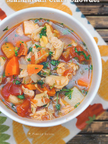 Hearty and Healthy Manhattan Clam Chowder by FamilySpice.com