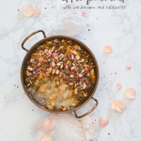Apple Quince Crisp with Cardamom and Rosewater by FamilySpice.com