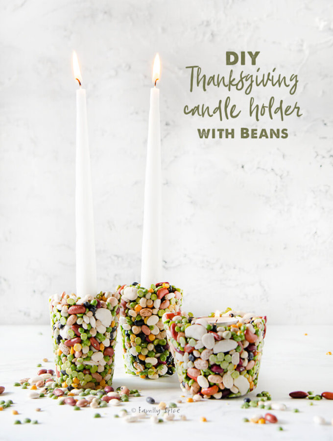 Thanksgiving candle craft of bean candle holder by FamilySpice.com