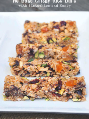 No Bake Crispy Rice Bars with Pistachios and Honey by FamilySpice.com