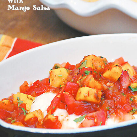 Cooking with Salsa: Baked Goat Cheese with Mango Salsa by FamilySpice.com