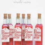 Homemade pomegranate vodka and free printable label by FamilySpice.com