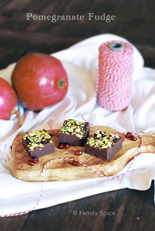 Pomegranate Fudge with Pistachios