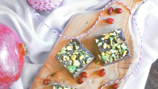 Pomegranate and Condensed Milk Fudge with Pistachios
