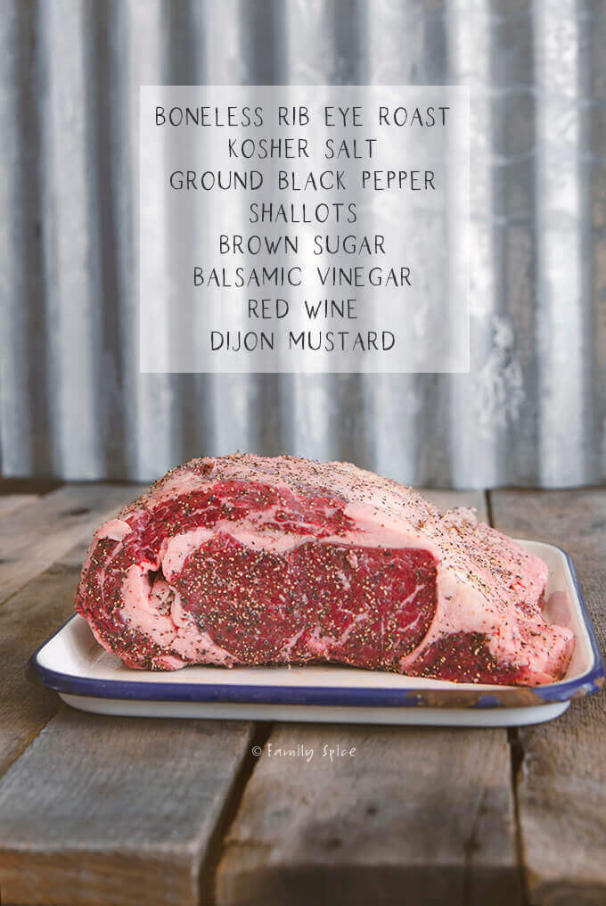 Ingredients listed to make a roasted ribeye roast