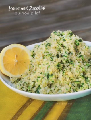 A bowl of fluffy quinoa with zucchini, herbs and lemon by FamilySpice.com