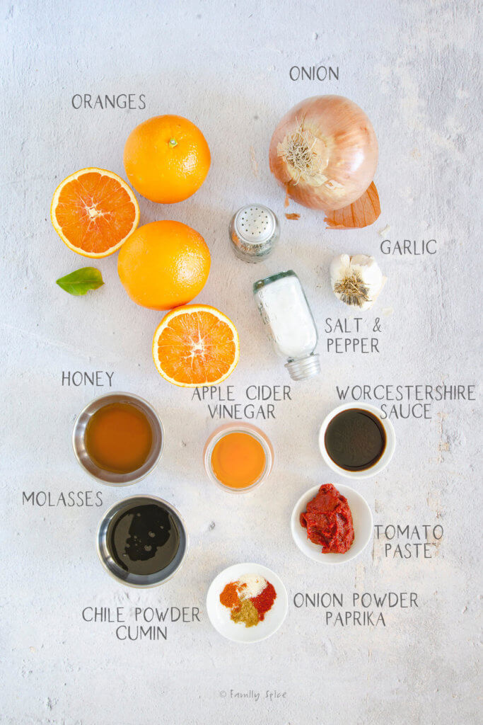 ingredients labeled and needed to make orange bbq sauce